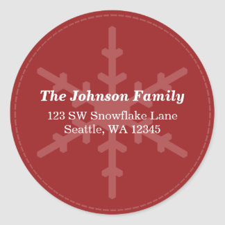 Red Winter Snowflake Custom Address Label