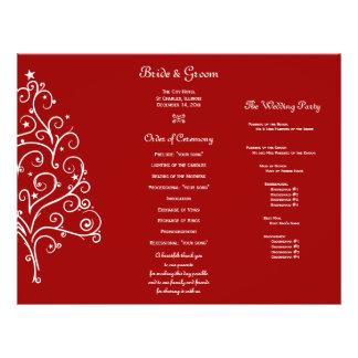 Red Winter Tri Fold Wedding Program 21.5 Cm X 28 Cm Flyer