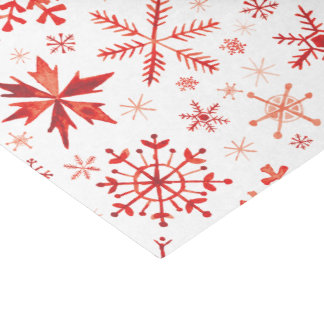 Red Winter Watercolor Snowflakes Tissue Paper