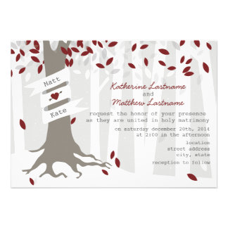 Red Winter Wedding Forest Snow Invitation