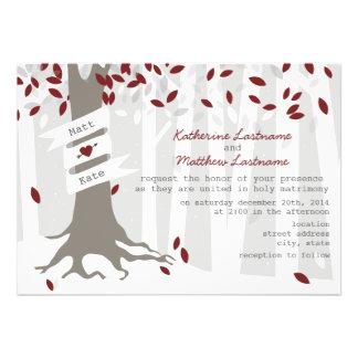 Red Winter Wedding Forest Snow Invitation