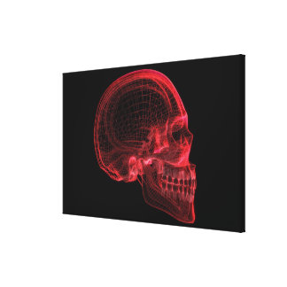 Red wireframe of a skull canvas print
