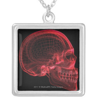 Red wireframe of a skull square pendant necklace