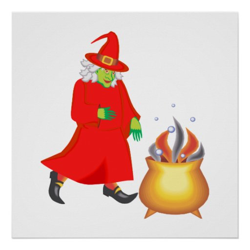Red witch with cauldron posters