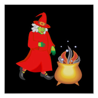 Red witch with cauldron poster
