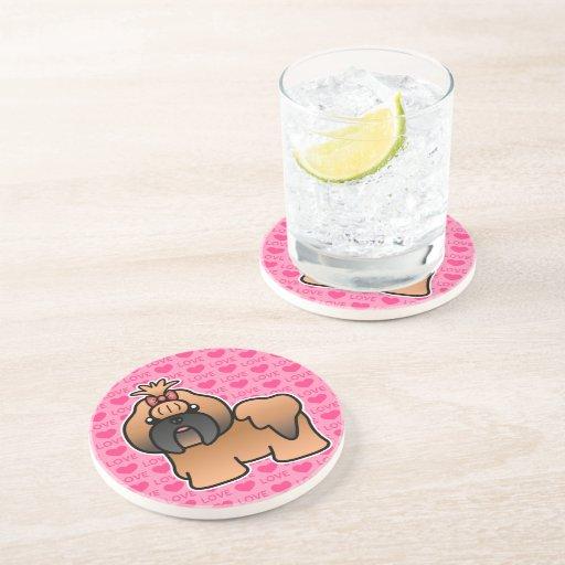 Red With Black Mask Cartoon Shih Tzu Love Drink Coasters