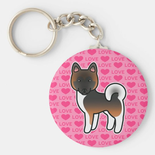 Red With Black Overlay Akita Dog On Pink Basic Round Button Key Ring