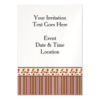 Red With Brown Stripes Pattern With Border Magnetic Invitations