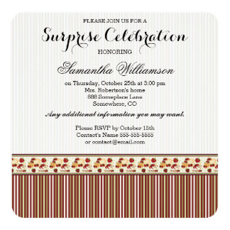 Red With Brown Stripes Pattern With Initial Card