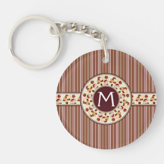 Red With Brown Stripes Pattern With Initial Double-Sided Round Acrylic Key Ring