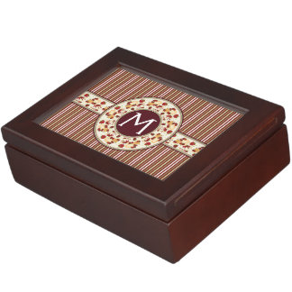 Red With Brown Stripes Pattern With Initial Keepsake Box
