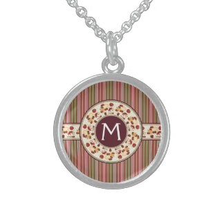 Red With Brown Stripes Pattern With Initial Sterling Silver Necklace