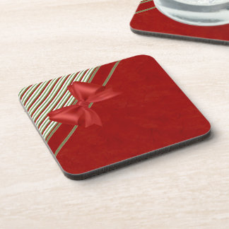 Red with Candy Cane Stripes and Bow Beverage Coaster