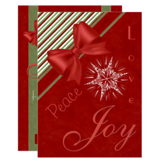 Red with Candy Cane Stripes Ribbons and Bows Card