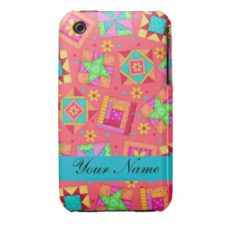 Red with Colorful Quilt Blocks & Personalized iPhone 3 Case