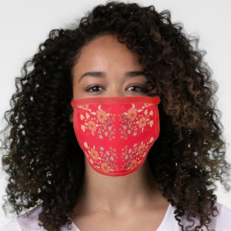 Red With Floral Design Face Mask