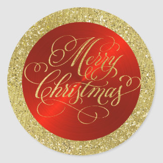 Red with Gold Border and Merry Christmas Classic Round Sticker