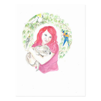 Red with Koala Bear Postcard