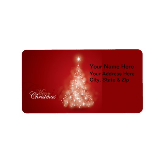 Red with Lights Christmas Tree  Address Labels