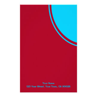 Red with mod turquoise circle custom stationery