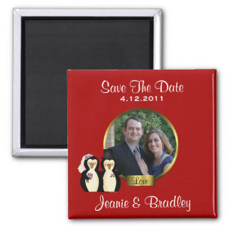Red with Penguins Save the Date Magnet