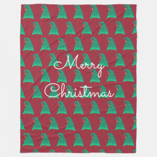 Red With Silly Christmas Tree Pattern Fleece Blanket