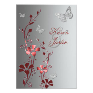 Red with Silver Butterflies Wedding Invitation
