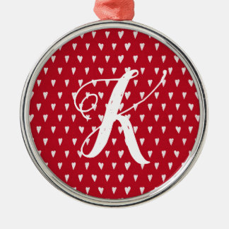 Red with white hearts custom monogram christmas ornament