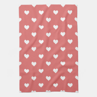Red With White Hearts Kitchen Towel