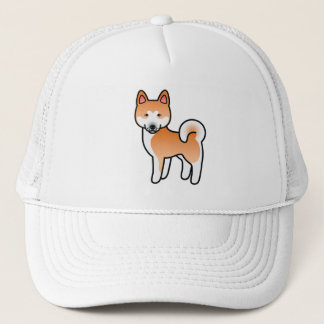 Red With White Mask Akita Cartoon Dog Trucker Hat