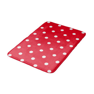 Red with White Polka Dots Bath Mats