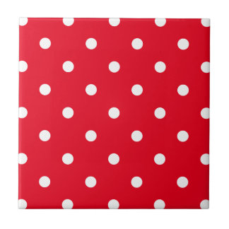Red with White Polka Dots Small Square Tile