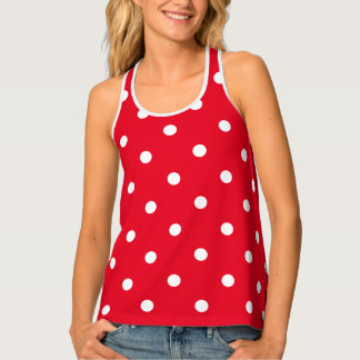 Red with White Polka Dots Tank Top