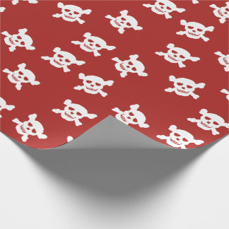 Red with White Skull and Crossbones Wrapping Paper