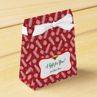 Red with White Snowflake Christmas  Pattern Favour Box