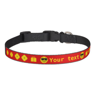 Red with yellow clover flowers smiley personalised pet collar