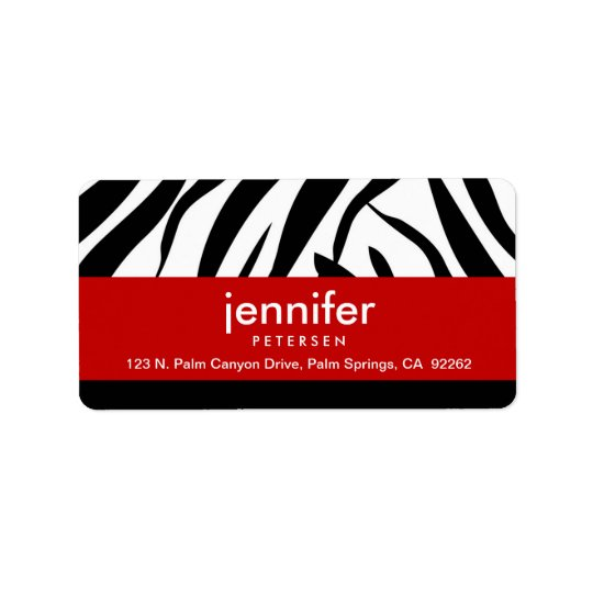 Red with Zebra Print, Address Labels