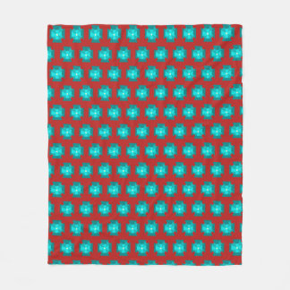 Red WithTeal Floral Pattern Fleece Blanket