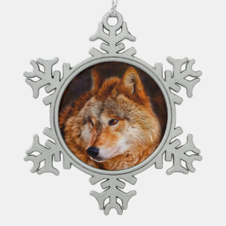 Red wolf fractal snowflake pewter christmas ornament
