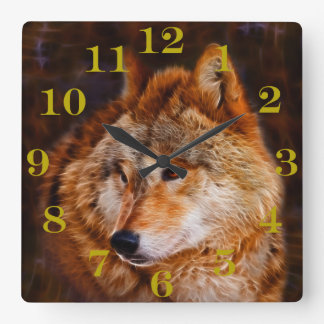 Red wolf fractal square wall clock