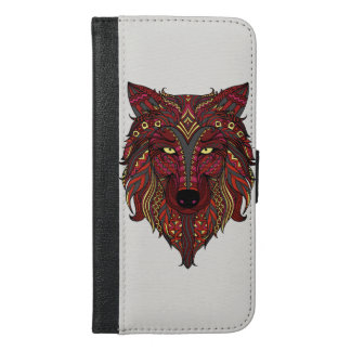 Red Wolf head yellow gray iPhone 6/6s Plus Wallet Case