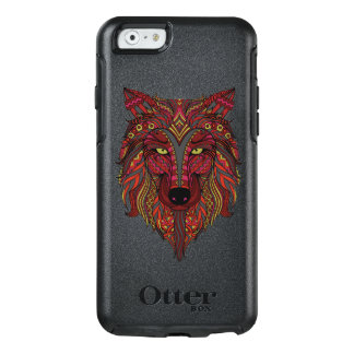 Red Wolf head yellow grey OtterBox iPhone 6/6s Case