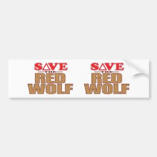 Red Wolf Save Bumper Sticker