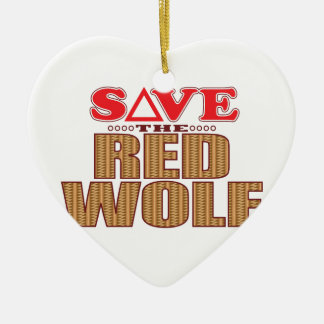 Red Wolf Save Ceramic Heart Decoration