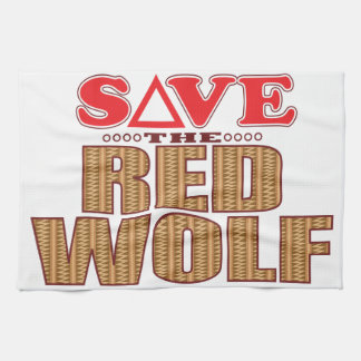 Red Wolf Save Tea Towel