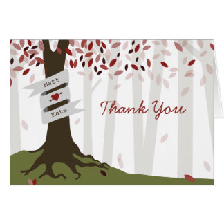Red Woodland Autumn Wedding Thank You Note Card