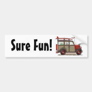 Red Woody Wagon Sure Fun! Bumper Sticker