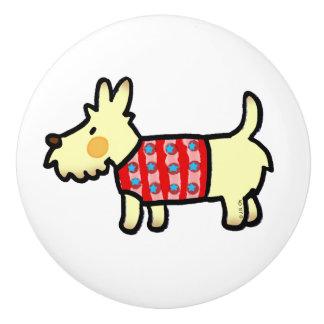 red woolly jumper cute puppy ceramic knob