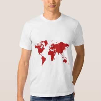 Red world map t-shirt