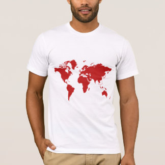 Red world map t-shirt